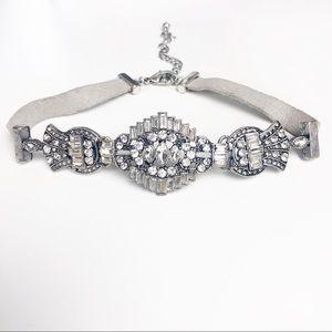 Silver And Grey Jeweled Chocker